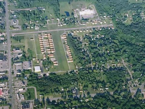 Dalton airport from above in Flushing Michigan. View from the approach end of the grass runway 9.