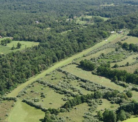 Aerial view of Derelict airport Hepner (4VA4) looking NW