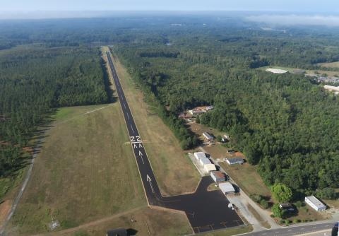 Aerial view of airport Lake Country (W63) looking South