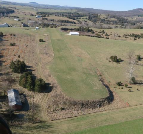 Aerial view of airport Linville (2VG3) looking SW