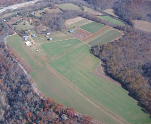 Aerial view of airport Woodridge (VG52) looking NE
