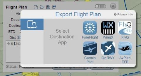 SkyVector now can export flight plans to ForeFlight, Garmin, Dynon