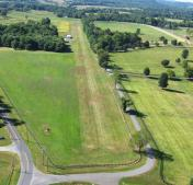 Aerial view of airport Hickory Tree Farm (VA79) looking South