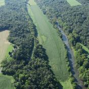 Aerial view of unlandable airport River Bend (VA58)